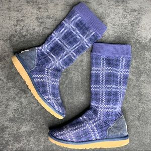 UGG Tall Lattice Cardy Sweater Boots Blue 4 Girls